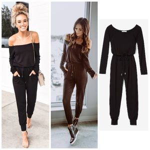 Express X Olivia Culpo Off Shoulder Pants Jumpsuit